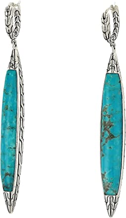 Classic Chain 5 mm. Drop Earrings with Turquoise