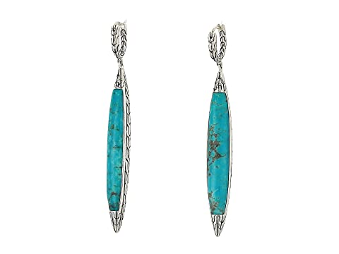 John Hardy Classic Chain 5 mm. Drop Earrings with Turquoise
