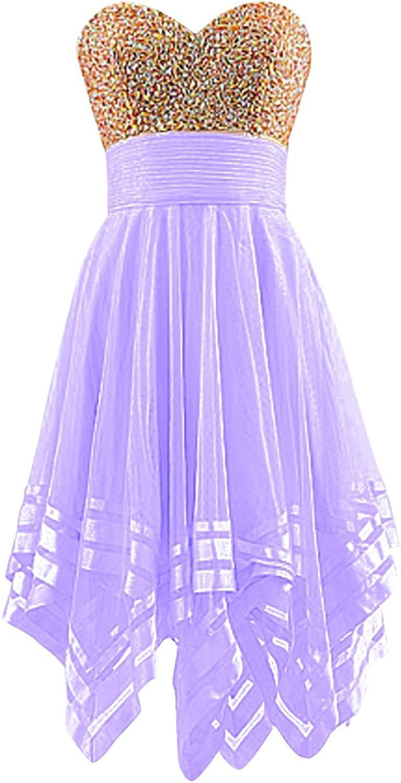 Chengzhong Sun Women's Beaded Top Tulle Skirt Knee Length Homecoming Prom Dress