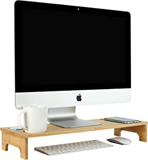 """TQVAI Natural Bamboo Monitor Stand Riser 21.5"""" Computer Stand Desk Laptop Riser with Grooves for Phone, Pen Holder, Busine..."""