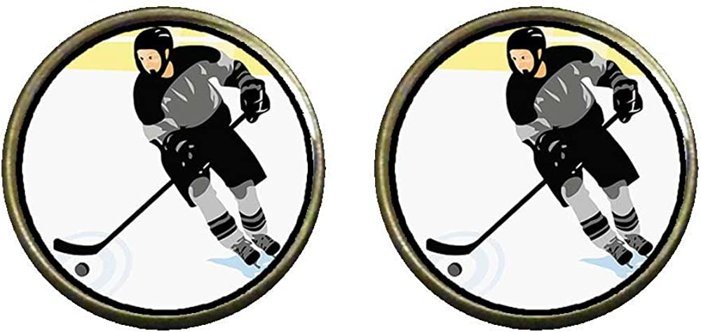 GiftJewelryShop Bronze Retro Style Olympics male Hockey player in competition Photo Clip On Earrings #14