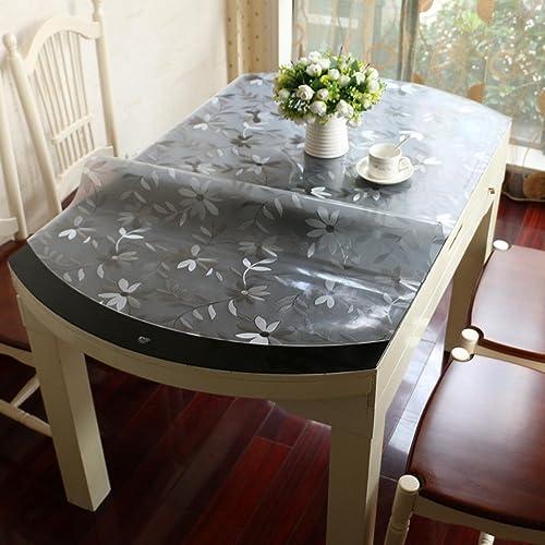 À hommeger nappe Nappe ronde Nappe transparente en pvc en verre doux Nappe imperméable à l'eau Plaque à table imperméable à l'eau en cristal (8 couleurs en option) (taille facultative) durable