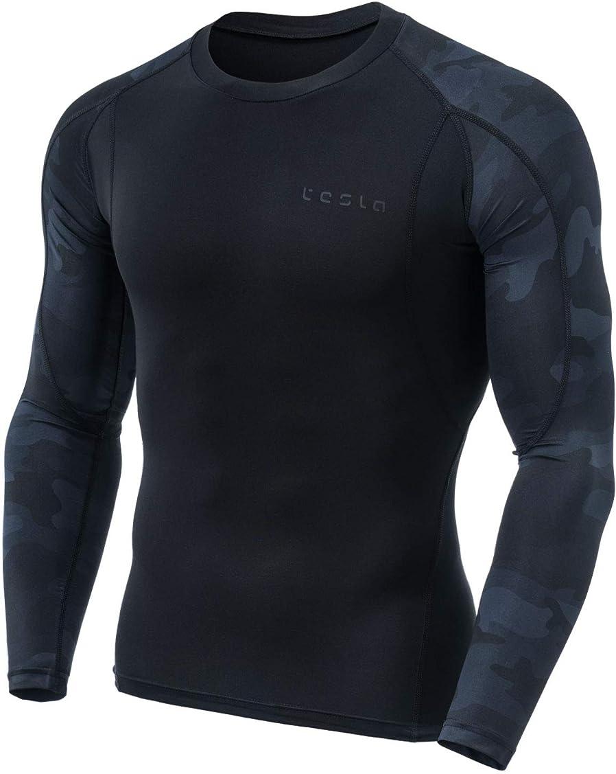 紛争帰る虚弱(テスラ)TESLA メンズ オールシーズン 長袖 ラウンドネック スポーツシャツ [UVカット?吸汗速乾] MUD