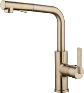 Derengge KF-9001-CS Single Handle Pull-out 1 Hole Kitchen Faucet, Meets UPC cUPC NSF AB1953 Lead Free Certification,French Brushed Bronze Finished