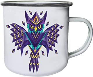 geometric owl pop art Retro, lata, taza del esmalte 10oz/280ml ii844e