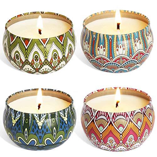 4 St¨¹ck Duftkerze Geschenke f¨¹r Frauen, Rose, Lavendel, Duftkerzen Set mit Angenehmer Duft Sch?n Kerzen f¨¹r Aromatherapie Weihnachten und Hochzeiten