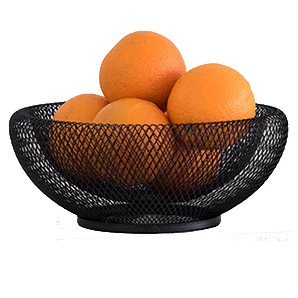 GOLDCHEE Black Metal Double Wall Mesh Fruit Bowl Creative Countertop Storage Basket Decorative Table Centerpiece Holder Stand for Fruit Vegetable Bread, Candy and Other Household Items (A) xqou2533190075