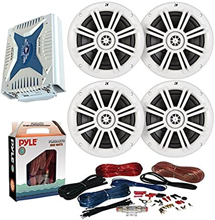 """$287 » 4 x Kicker 41KM604W 6.5"""" Marine Boat Coaxial White Speakers Combo Bundle With A Pyle PLMRA430BT 1000 Watt 4-Channel Marine Car Bluetooth Amplifier + Pyle PLMRAKT8 8 Gauge Amplifier Installation Kit"""