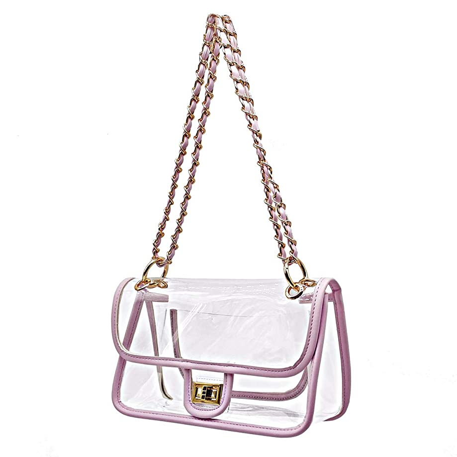 Laynos Clear Purse Turn Lock NFL Approved Chain Waterproof Crossbody Shoulder Bags Handbags