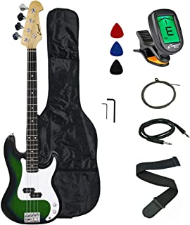 Crescent Electric Bass Guitar Starter Kit – Translucent Green Color (Includes..