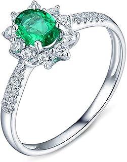 Daesar Anelli Matrimonio Oro Bianco 18K, Anello Anniversario Donna Anello Smeraldo Donna 0.5ct Fiore Ovale Anello in Oro B...