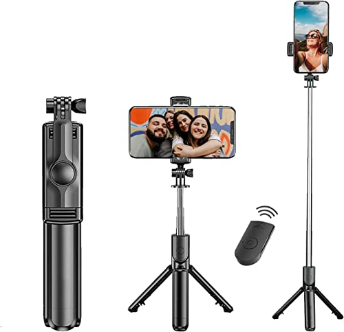 Tygot Bluetooth Extendable Selfie Sticks with Wireless Remote and Tripod Stand 3 in 1 Multifunctional Selfie Stick with Tripod Stand Compatible with iPhone OnePlus Samsung Oppo Vivo and All Phones