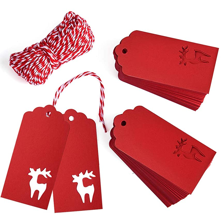 Gift Tags, Zealor 100 Pieces Red Kraft Paper Gift Tags Deer Design with String for Christmas Gift Bags Party Supplies