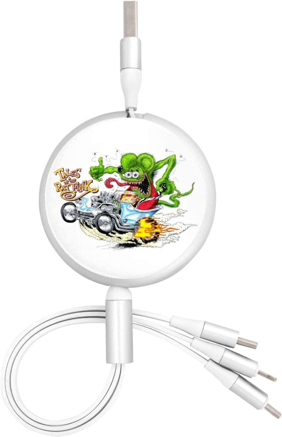 Fejarx Rat Fink4 Multi USB Retractable Charging Cable 4ft 3 in 1 Multiple Charger Cord Adapter Micro USB Port Compatible Cell Phones Tablets and More Universal Use B-1