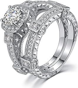 Sterling Silver Wedding Ring Set Cubic zirconia Engagement Ring Set