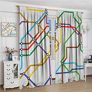 GUUVOR Map Room Darkened Curtain Stripes in Vibrant Colors Metro Scheme Subway Stations Abstract Railroad Transportation Insulated Room Bedroom Darkened Curtains W84 x L108 Inch Multicolor