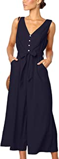 ECOWISH Womens Jumpsuits Casual Button Deep V Neck...