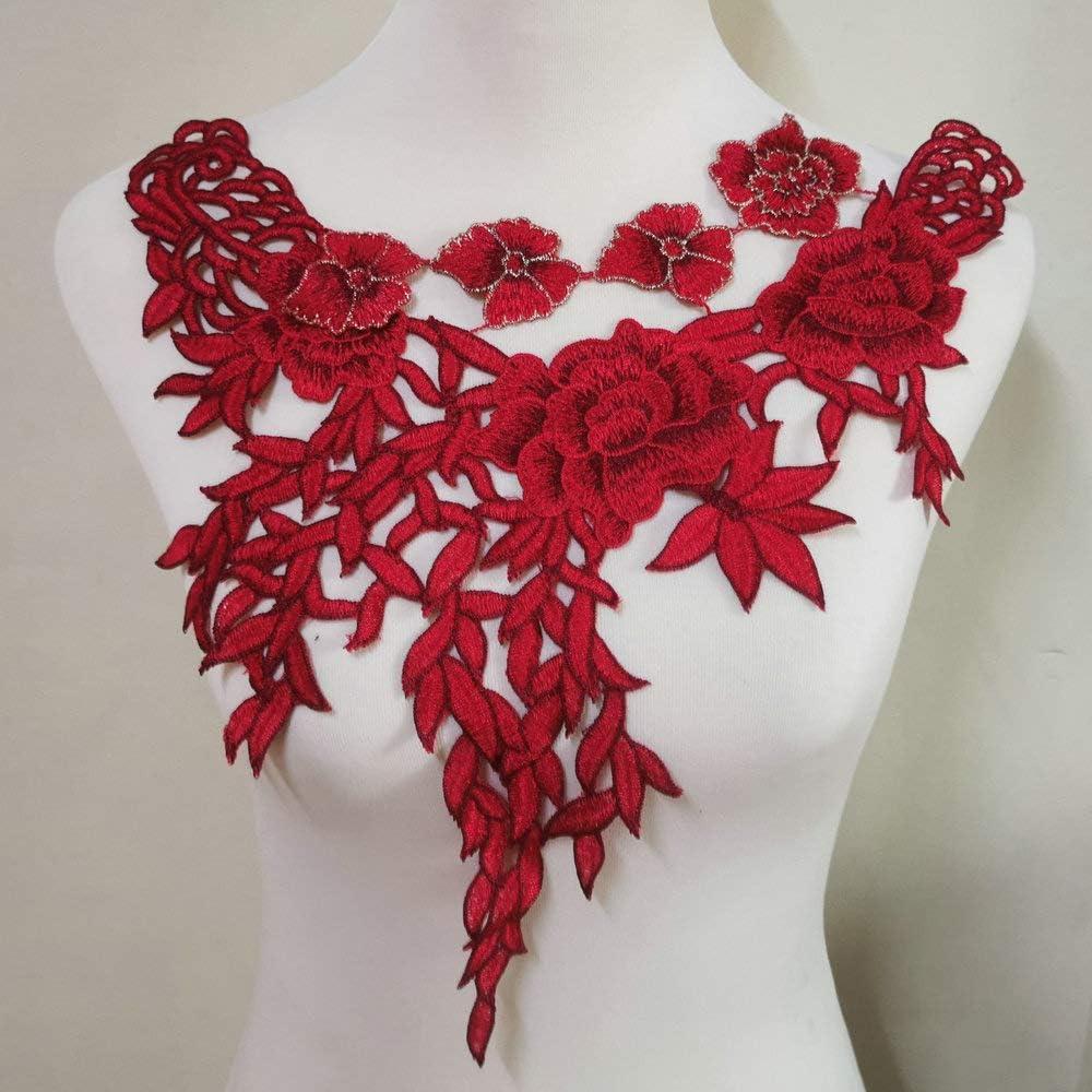 1 Pcs Venise Super intense SALE Red Regular discount Flower of Dress Wheat Applique Ear Fabric Lace