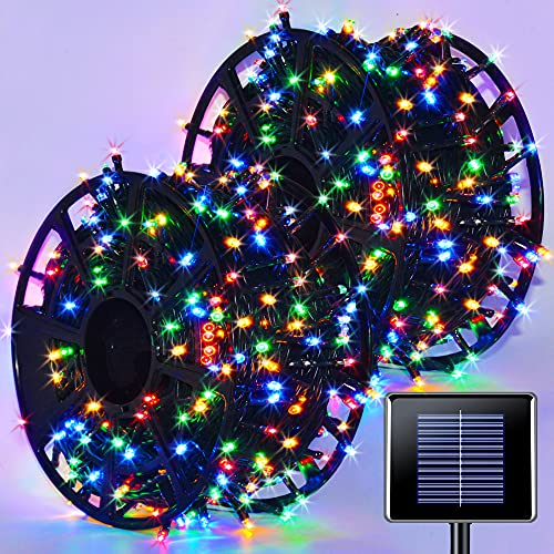 JMEXSUSS 600LED Solar String Light 206.7ft 8 Modes Solar Christmas Lights Waterproof Outdoor Fairy String Lights for Gardens Wedding Party Christmas Tree Xams Halloween Decor(Multicolor)