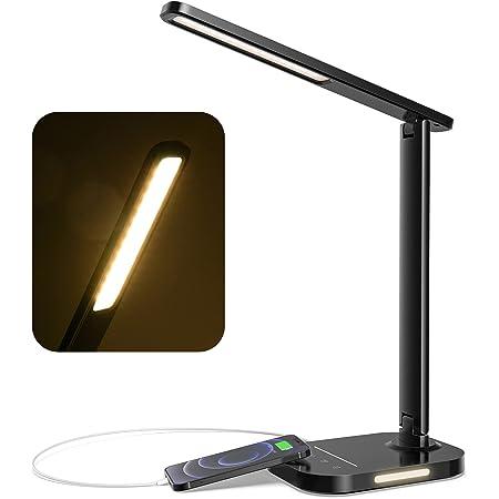 LITOM Lampe de bureau LED, Lampe de Table avec Veilleuse avec 5 Couleurs et 10 Niveaux de Luminosité, Charge USB, Minuterie 1H, Contrôle Tactile, Fonction de Mémoire pour Lecture, Travail, Étude, noir
