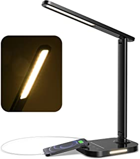 LITOM LED Desk Lamp, Eye-Caring Office Table Lamps with Night Light, 10 Brightness, 5 Color Temperature, USB Charging Por...