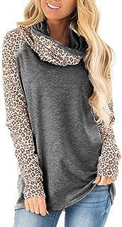 Qearal Women's Fall Leopard Print Cowl Neck Sweatshirts Casual Raglan Long Sleeve Shirts Patchwork Pullover Tops