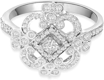 14K White Gold Diamond Ring for Women 0.49ctw Victorian Antique Style Princess Cut Center