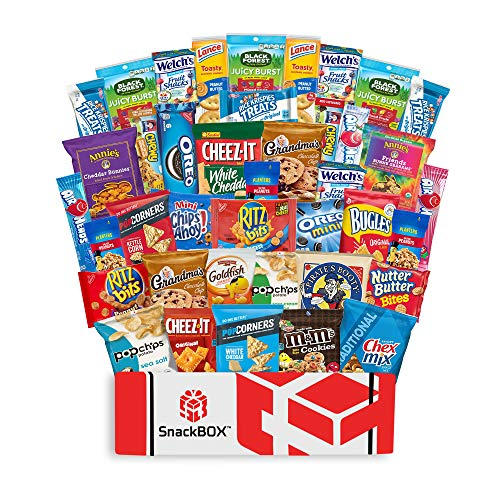 Care Package Snacks for College Students, Finals, Snack Packs, Office, Fathers Day, Date Night, Deployment, Military and Gift Ideas - Including Over 3 lbs of Chips, Cookies and Candy! (40 Count)