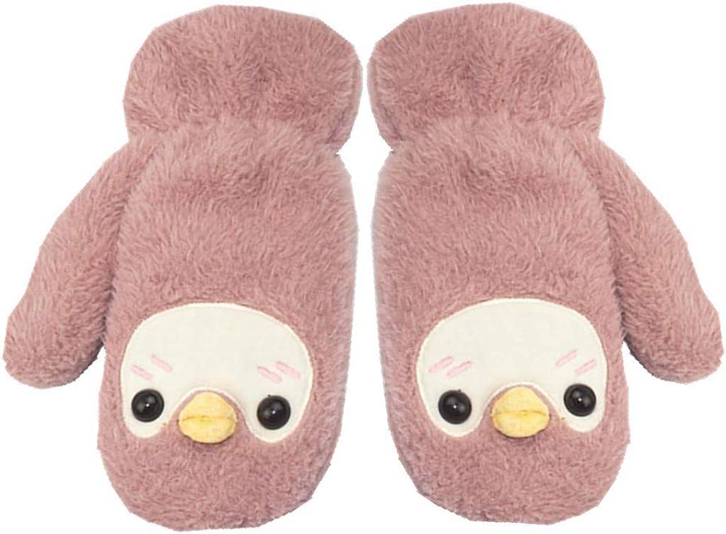 Winter Warm Mittens Cure Animal Cartoon Thicken Gloves Fingerless Hand Warmer Plush Cotton Gloves for Boys Girls