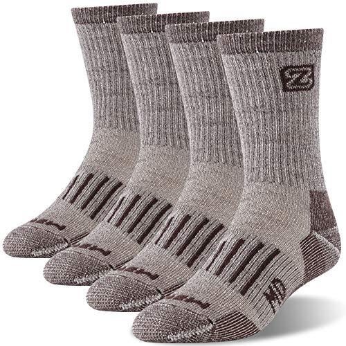 Men's Merino Wool Socks, ZEALWOOD Warm Winter Extreme Cold Weather Socks Reinforced Cushion Hiking Socks Winter Warm Socks Extreme Cold Weather Socks Thermal Insulated Socks for Men Work Socks
