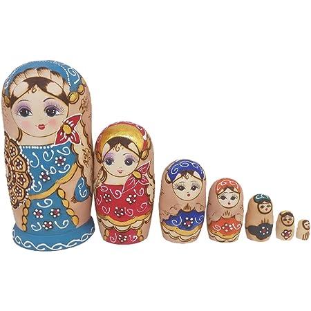 bambola di legno HEALLILY 5 pezzi Matryoshka Babuschka legno classico russo matrischka bambola orso