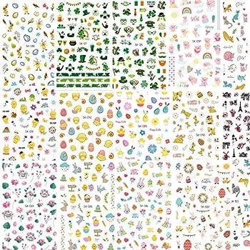 Konsait 700pcs Easter Nail Art Stickers,St Patrick's Day Decoration Luck of The Irish Nail Art Stickers Decals Bunny Shamrock Nail Sticker False Nail Design Self-Adhesive Nail Tips Decorations