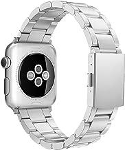 Simpeak Correa Compatible con Apple Watch Series 5/ Series 4/Series3/ Series 2/ Series 1 Correa 38mm de Acero Inoxidable Reemplazo de Banda Corchete 38mm, Plata