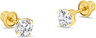 14k Yellow Gold 2, 3, 4, 5, 6mm Basket Round Cubic Zirconia Children Screw Back Baby Girls Earrings