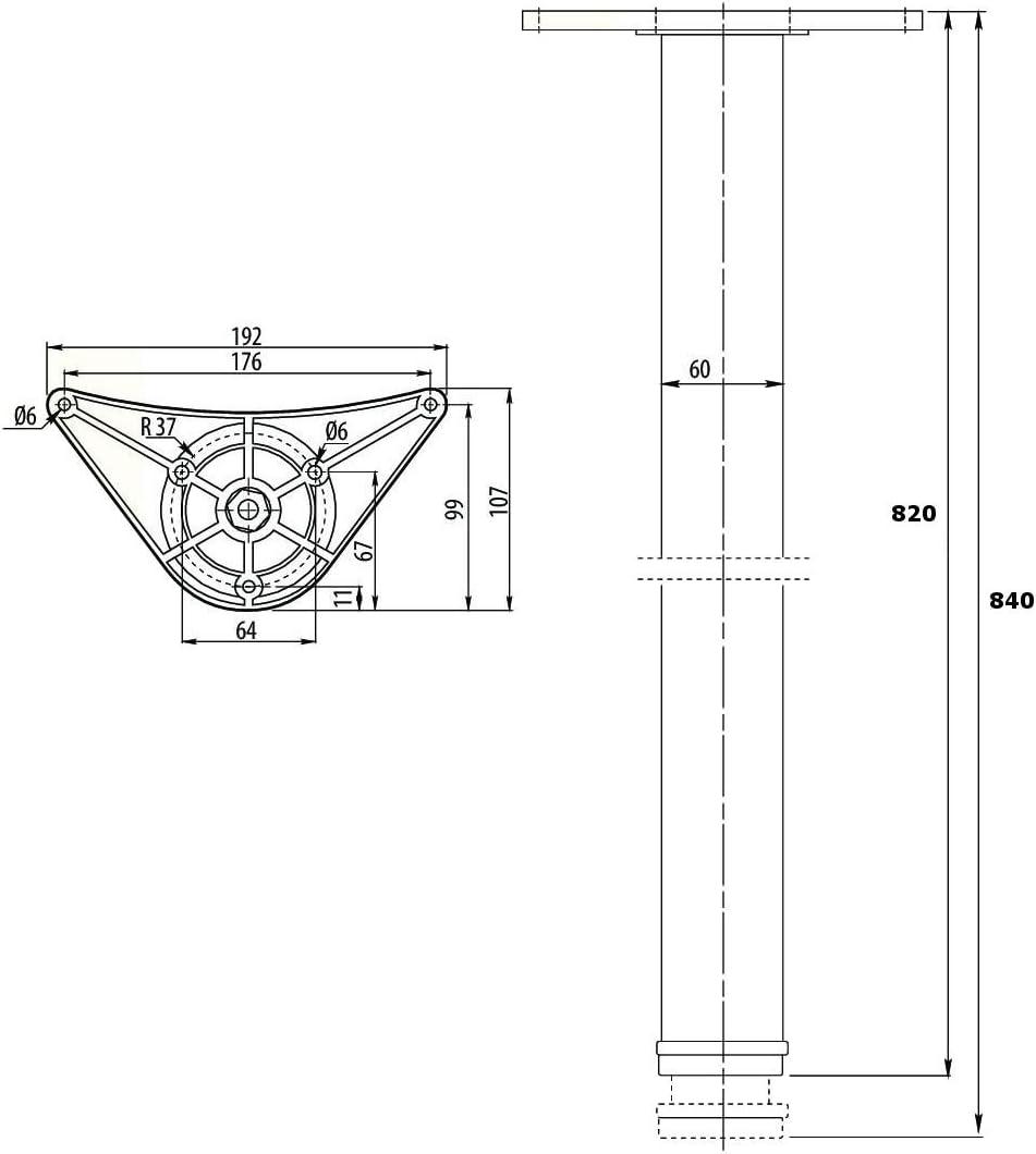 Adjustable Breakfast Bar Worktop Support Table Kitchen Leg 710//820//1100 mm 710mm Aluminium