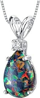 14 Karat White Gold Pear Shape Created Black Opal Diamond Pendant
