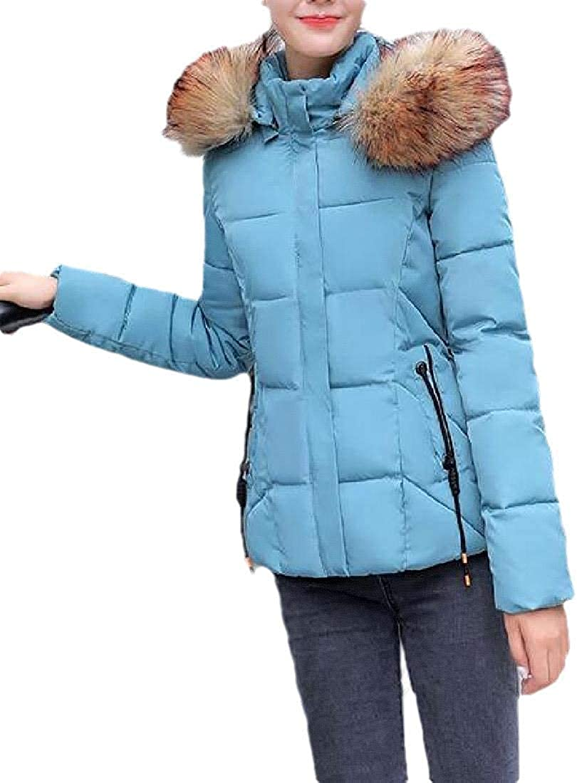 fghvcbnghf Women's Quilted Hoodie Puffer Faux Collar Cotton-Padded Down Jacket