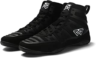 FJJLOVE High Top Boxing Shoes Breathable Non-Slip Wrestling Shoes for Men Women Sport Athletic Casual Shoe,Black,39