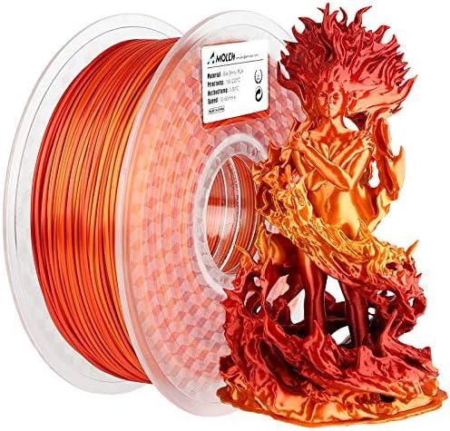 AMOLEN 3D Printer Filament PLA Filament 1 75mm Silk Shiny Filament Red Gold Gradient 1KG 2 2lb product image