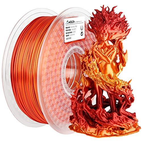 AMOLEN Filamento PLA 1.75, Filamento Stampante 3D Seta Oro e Rosso Lucente, Materiali di Stampa 3D, 1KG