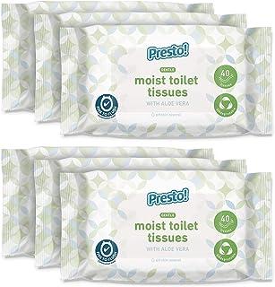 Amazon-merk - Presto! zachte vochtige toiletweefsels - Aloë Vera - fijn om te spoelen, verpakking van 240 (40 weefsels x 6...