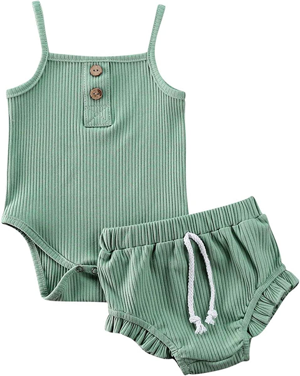 Infant Baby Girls Summer Knit Outfits Ribbed Sleeveless Romper Tops+Ruffle Bloomers Shorts Plain Clothes Set