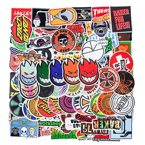 Coole Marken Aufkleber 100 Stuck modische Skateboard Aufkleber Computer Aufkleber wasserdichte Vinyl Aufkleber Laptop Aufkleber Gepack Auto Fahrrad Wasserflaschen Aufkleber fur Jugendliche