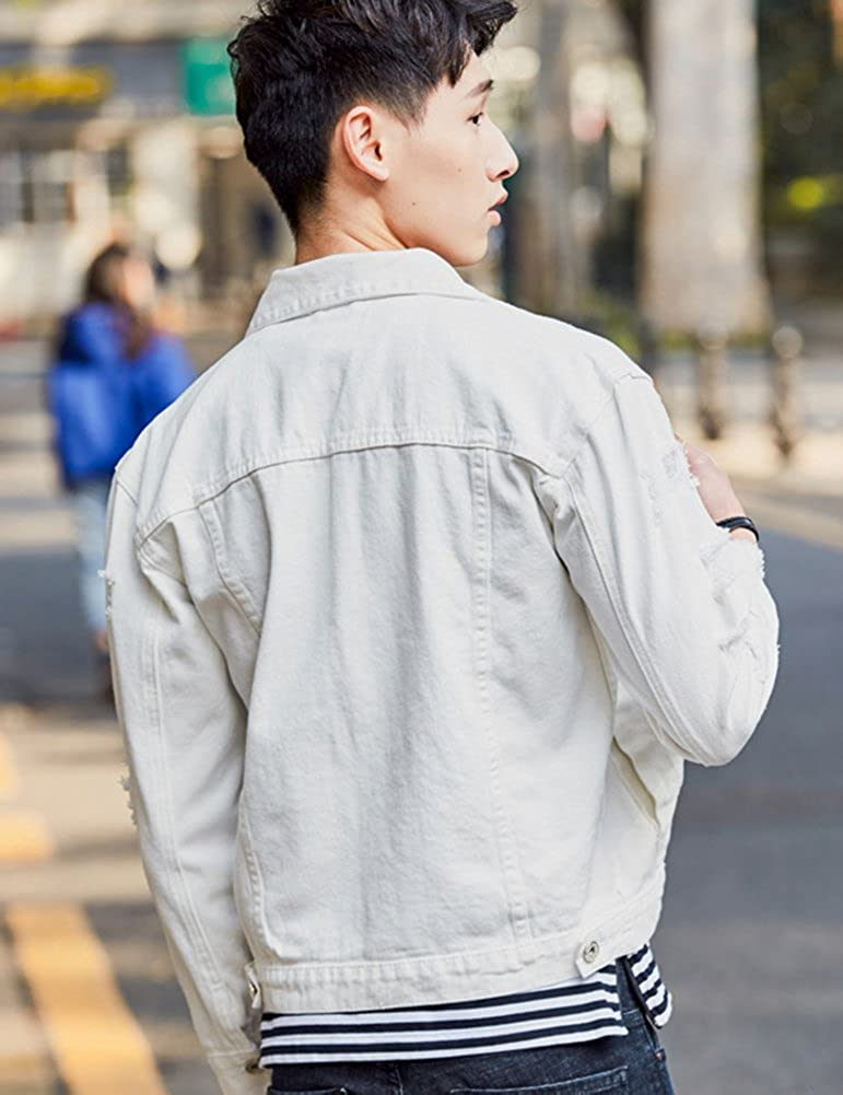 DSDZ Men`s Retro Vintage Washed Ripped Hip Hop Motorcycle Denim Jacket