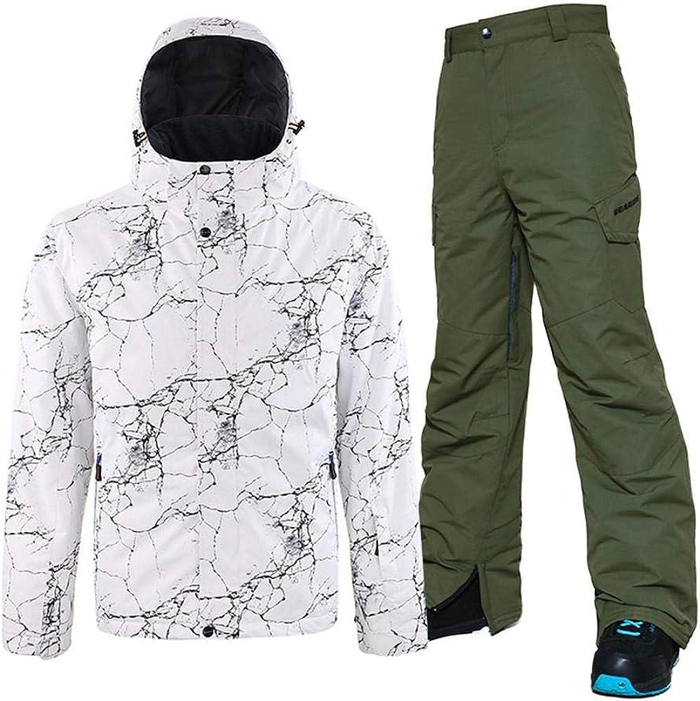 YEEFINE Mens Ski Jacket and Pants Set Waterproof Outdoor Winter Snowboard Jackets Windproof Mountain Snowsuit