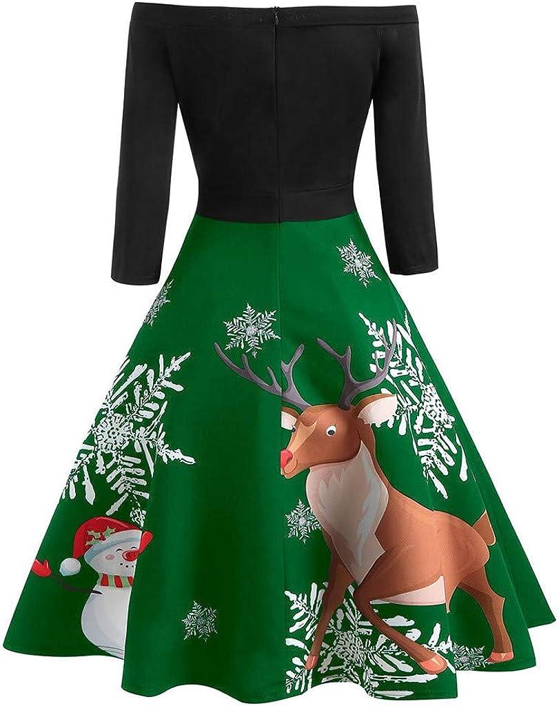 LLonGao Weihnachten Frauen Schulterfrei Drucken Vintage Abendgesellschaft Kleid Flare Kleid