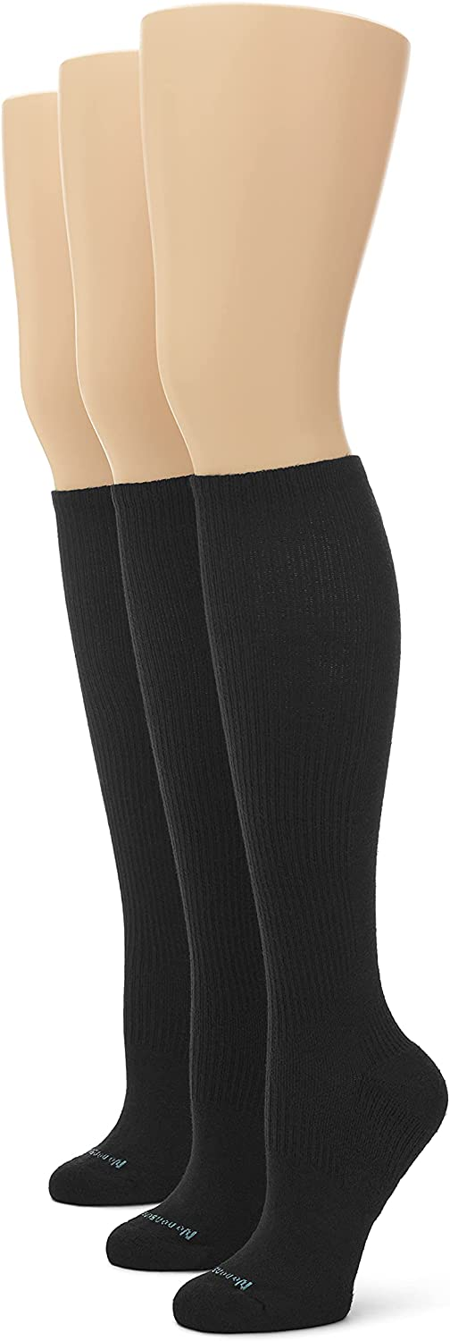 No Nonsense womens Feel Good Compression Knee High Sock, 3 Pair Pack