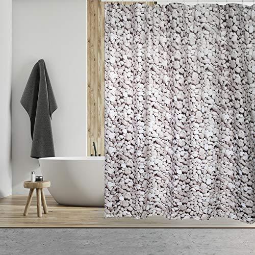 """MSV Anti-Schimmel Duschvorhang 140115 - Anti-Bakteriell, waschbar, wasserdicht, mit 12 Duschvorhangringen - Polyester, """"Mosaik"""" 180x200cm weiß"""