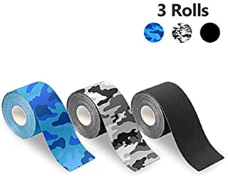 Kinesiology Tape Elastic Sports Tape for Athletes, Breathable Water Resistant Reduce Pain Recovery Athletic Adhesive Tape for Muscles Knee Shoulder 3 Rolls Pack, 2 Inch x 16.4 feet