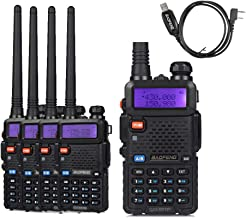5 Pack Baofeng UV-5RTP Tri-Power 8W/4W/1W UHF VHF Dual Band High Power Two-Way Radio Transceiver + 1 Programming Cable
